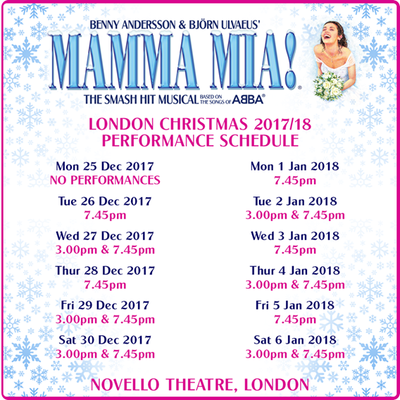 MAMMA MIA! London Christmas Schedule Announced
